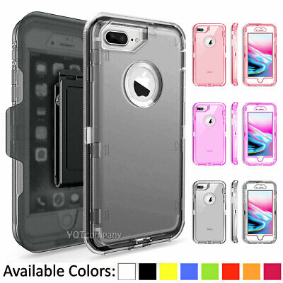 For Apple iPhone 6S 7 8 Plus XS Max Defender Clear Case Cover Belt Clip Holster