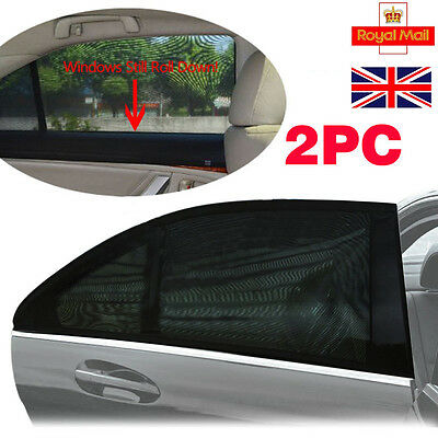 2x Black Car Rear Window UV Mesh Sun Shades Blind Kids Children Sunshade Blocker
