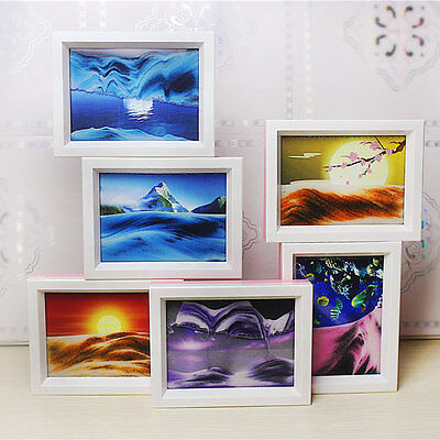 Framed Moving Sand Time Glass Picture Home Office Desk Decor Craft Gift 6 Styles