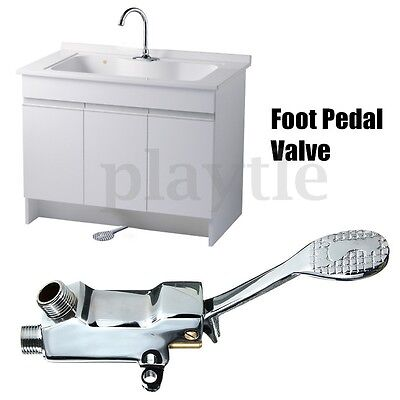 Floor Foot Pedal Control Switch Valve Faucet Copper Basin Single Cold Water Tap