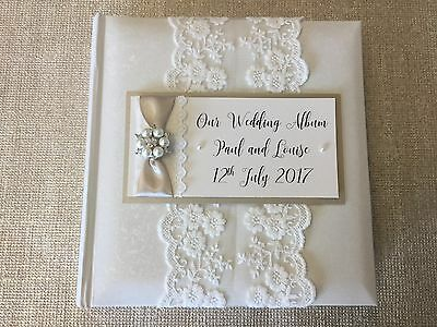 Personalised Vintage Embellishment Wedding Album Gift Colour Choices