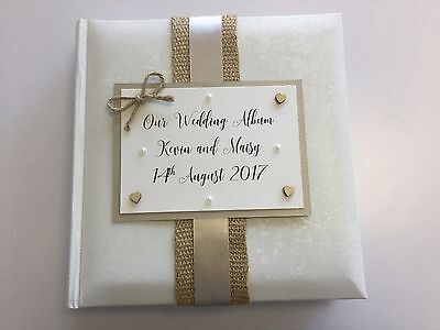 Personalised Vintage Hessian Wedding Album Gift Colour Choices