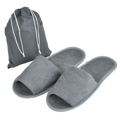 5/10 Pairs Foldable Towelling Open Toe Hotel Slippers Spa Disposable Shoes Grey