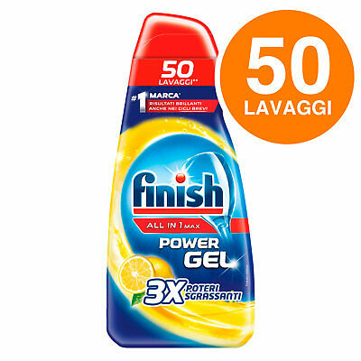 Finish Powergel Tutto in Uno Max Lemon Gel Concentrato Lavastoviglie 1000 ml•