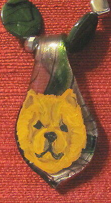Chow Chow hand paitned on green Murano glass spoon/pendant/bead/necklace