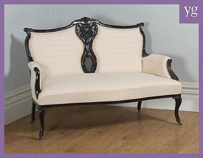 Antique English Victorian Rococo Carved Mahogany Upholstered Couch Settee Sofa