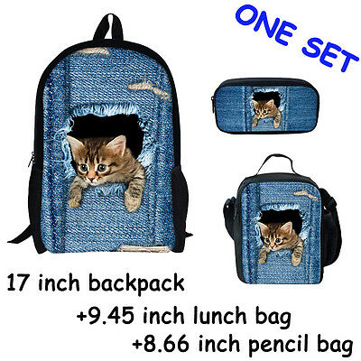 Cute Cats Polyester Children School Bag,Lunch Bag, Pencil Case One Set Pack Of 3