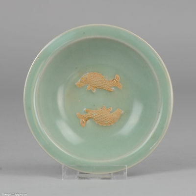 15-16C Ming Period Double Fish Celadon Plate Chinese porcelain antique China