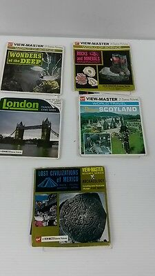 lot of 5 vintage viewmaster reels travel/science Scotland/London/rocks minerals