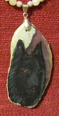 Belgian Sheepdog hand painted on freeform grey Agate Slice pendant/bead/necklace