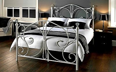 Victorian Style Metal Bed Frame White Double French Beds Vintage Shabby Chic
