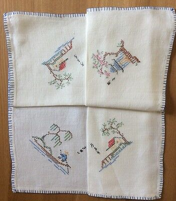 Vintage Linen Hand Embroidered, Chinese Inspired, Tablecloth