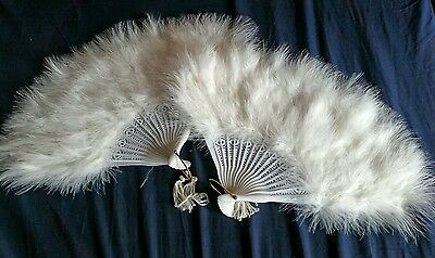 """Pair two matching Pure Bright White feather showgirl burlesque costume fan 12"""""""