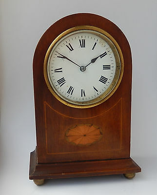 Superb Late Victorian French Inlayed Mahogany Mantel Clock Working  2660