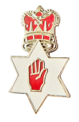 Northern Ireland Ulster Crown Over Red Hand Star Pin Badge - K99