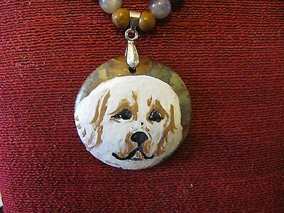 Clumber Spaniel hand panted on a round Jasper pendant/bead/necklace