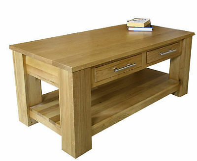 Solid Light Oak Coffee Table with Drawers | Oak Living Room Furniture MB009