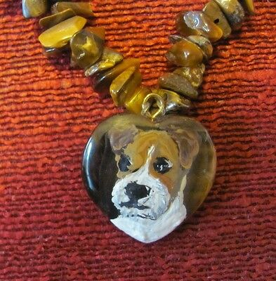 Parson Russell Terrier hand painted on small Tigereye pendant/bead/necklace plus