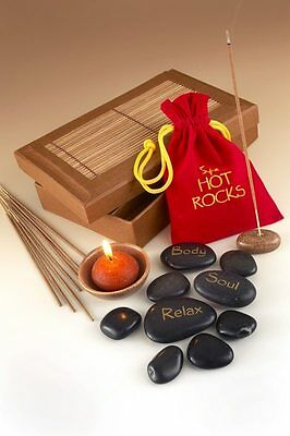 Spa Hot Rocks Gift Pack Relaxing Stone Massage Therapy Scented Candle & Incense