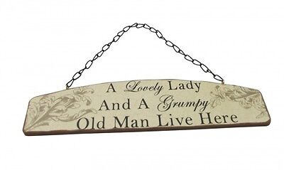 A Lovely Lady and a Grumpy Old Man Live Here Plaque - Hanging Sign Humorous