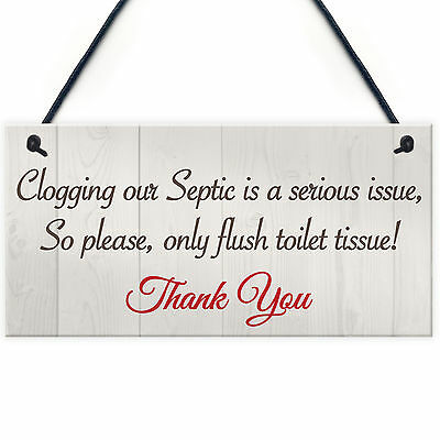 Only Flush Tissue Hanging Bathroom Plaque Toilet Wall Door Decor Thank You Sign
