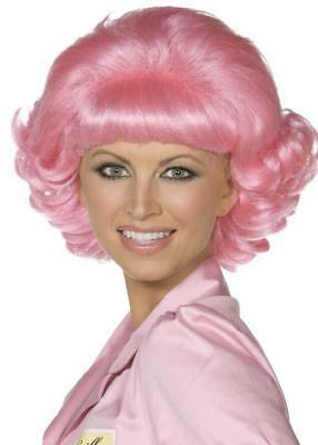 Ladies Grease Fancy Dress  Pink Frenchy Wig