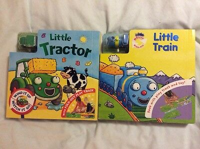 Large Baby Board Books With Tracks And Wind Up Vehicles