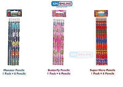 Kids Pencils Monster/butterfly/super Hero Party Bag Filler Gift Xmas Girls/boys