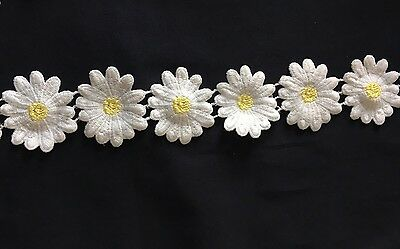 Sew on embroidery lace ( White & yellow flower Pattern)