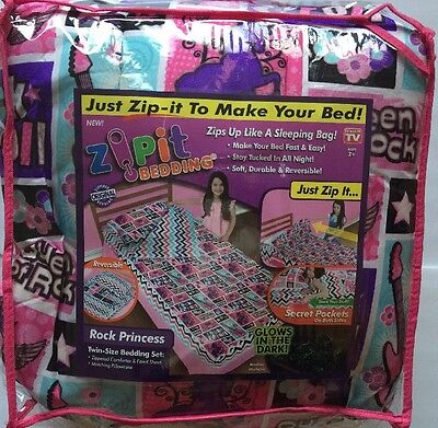 ZIP-IT Bedding Rock Princess Music Peace Zip Up Easy Make Bed As Seen On TV Twin