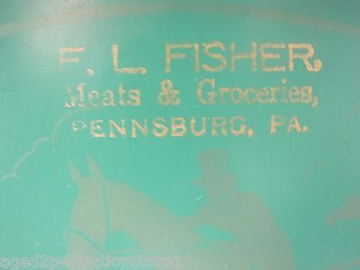 Old Meats & Groceries Advertising Tin Tray F.L. Fisher Pennsburg Pa 'Hunt Scene'