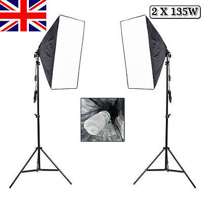 1350W Photo Studio Video Softbox Continuous Lighting Soft Box Light Stand Kit UK