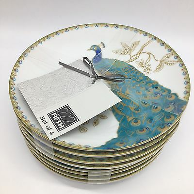 "x8 222 Fifth Peacock Garden Appetizer Plate Set Dessert Snack Turquoise 6"" NEW"