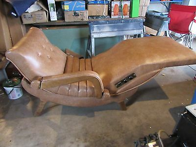 Mid-Century Modern CONTOUR CHAIR Lounge power Recliner heat Vibrate  Chaise
