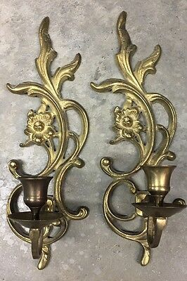 """Vintage PAIR of Solid Brass Flower Wall Sconces - Candle Holder Sconces - 11""""H"""