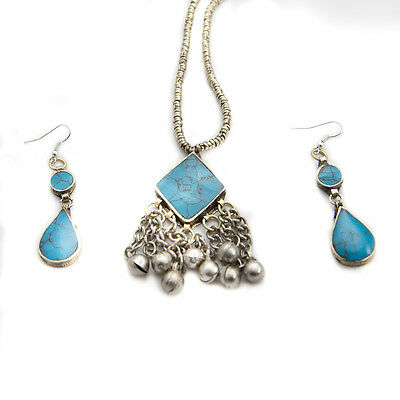 Afghani Tribal Jewelry Set Dangle Earring with Square Pendant Soft Bells Gypsy