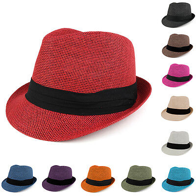 c368dbe10 COLORFUL STRAW FEDORA Hat with Black Pleated Band - FREE SHIPPING