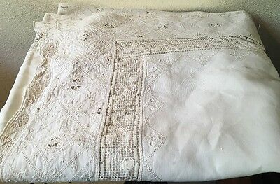 "Antique Linen Lace Tablecloth French Linen! Stunning Large 88"" By 63"""