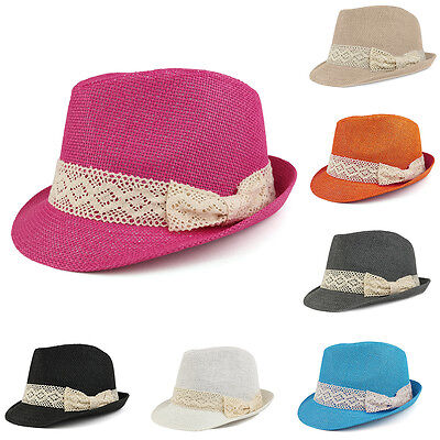 4514e9335 COLORFUL STRAW FEDORA Hat with Black Pleated Band - FREE SHIPPING ...