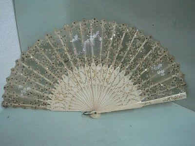 19 th century Fan with sequins Hand painted with a child and a lady