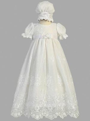 New Baby Girls White Embroidered Tulle Dress Gown 3-6 Months Baptism Christening