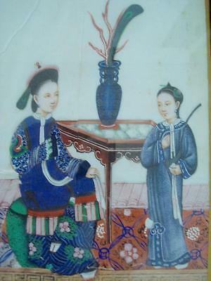 Antique Chinese Export Watercolor Pith Painting Mandarin Figures 19Th C
