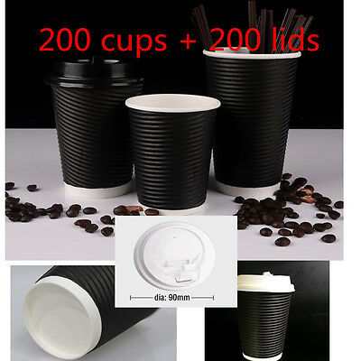 200X Food Grade Cup Paper Disposable Coffe Cups Double Wall Cups&lids 8 oz Black