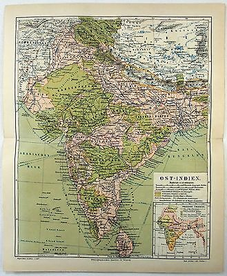 Original 1888 Map of India by Meyers