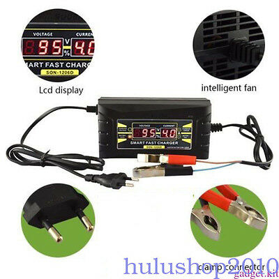 12V/6A Smart Leadacid Battery Charger for Car Motorcycle LCD Display US/EU Plug