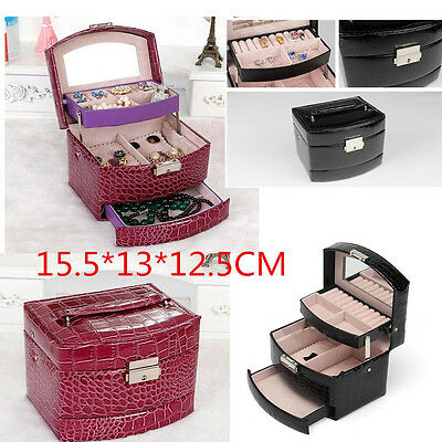 Travel Mirror  Leather Jewelry Box Necklaces Ear Ring Watch Storage Case&Gift