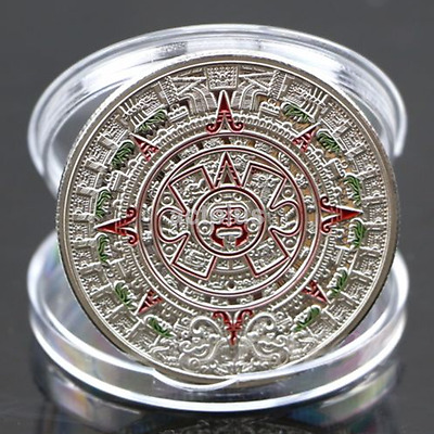 New Silver Plated Prophecy Mayan Aztec Calendar Commemorative Coin Collection
