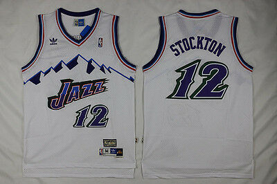 John Stockton Utah Jazz #12 Need Mesh Basketball Jersey White Size: S - XXL