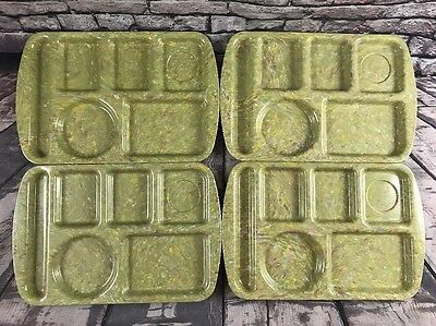 4 Prolon Ware Melamine Divided Cafeteria Lunch Dinner TV Trays Confetti Green