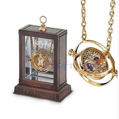 Gold Hourglass Harry Potter Time Turner Necklace Hermione Granger Rotating Spins
